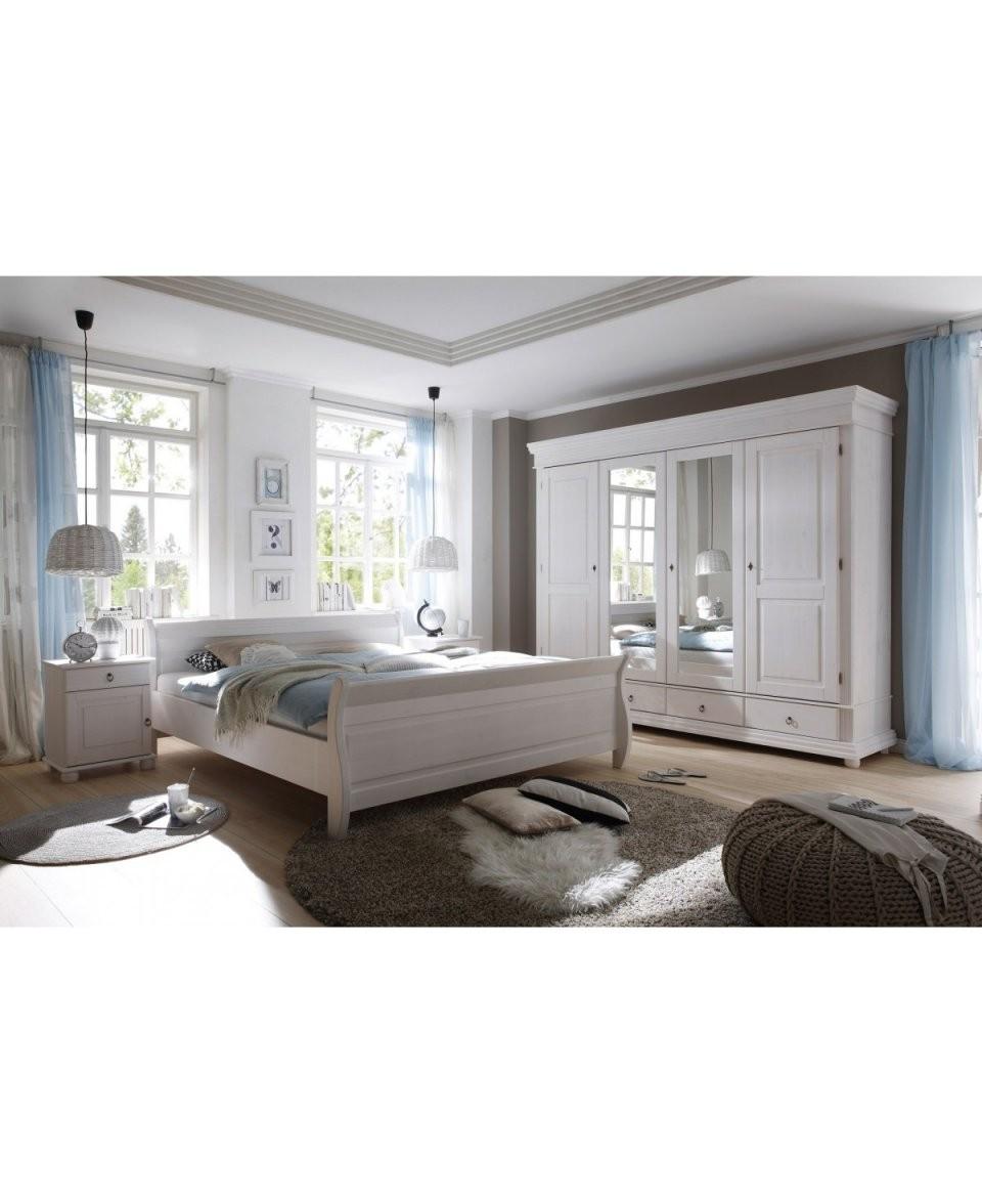 Landhausstil Schlafzimmer Kiefer Weiß Gewachst 180X200 von Schlafzimmer Im Landhausstil Weiß Bild