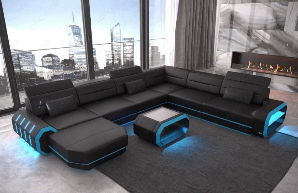 Leder Wohnlandschaft Roma Xxl Als U Form Sofa Mit Beleuchtung von Xxl Wohnlandschaft U Form Photo