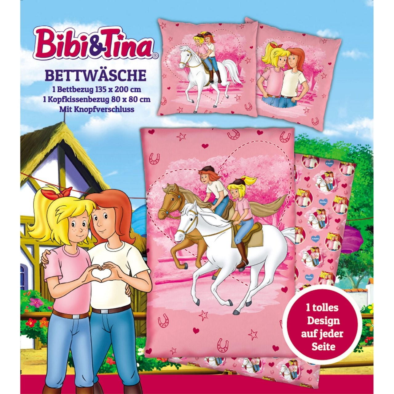 Linon Kinderbettwäsche Bibi Und Tina Freunde 135X200 80X80Cm von Bettwäsche Bibi Blocksberg Photo