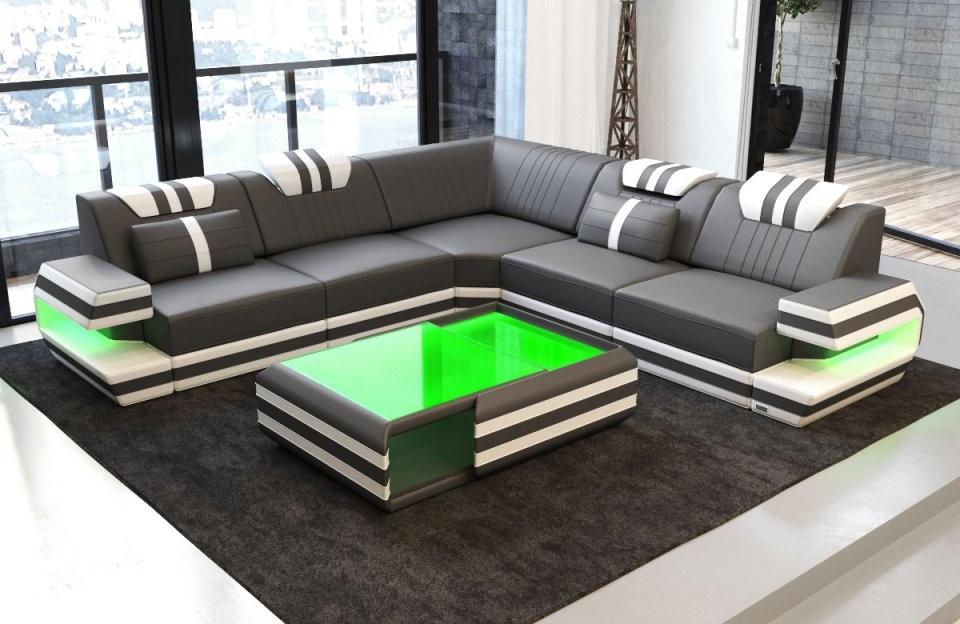 Luxus Couch Ragusa L Form Mit Lederbezug Und Led Beleuchtung von Couch Mit Led Beleuchtung Bild