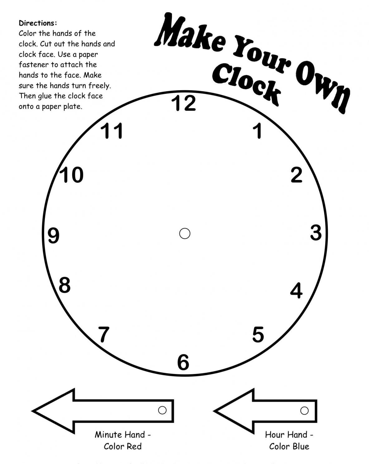 Make Your Own Clock Printable  Teaching Math  Kindergarten Math von Make Your Own Clock Photo