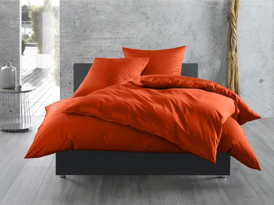 Mako Satin Bettwäsche 155X200 Uni  Einfarbig Orange Online Kaufen von Bettwäsche 155X200 Mako Satin Bild