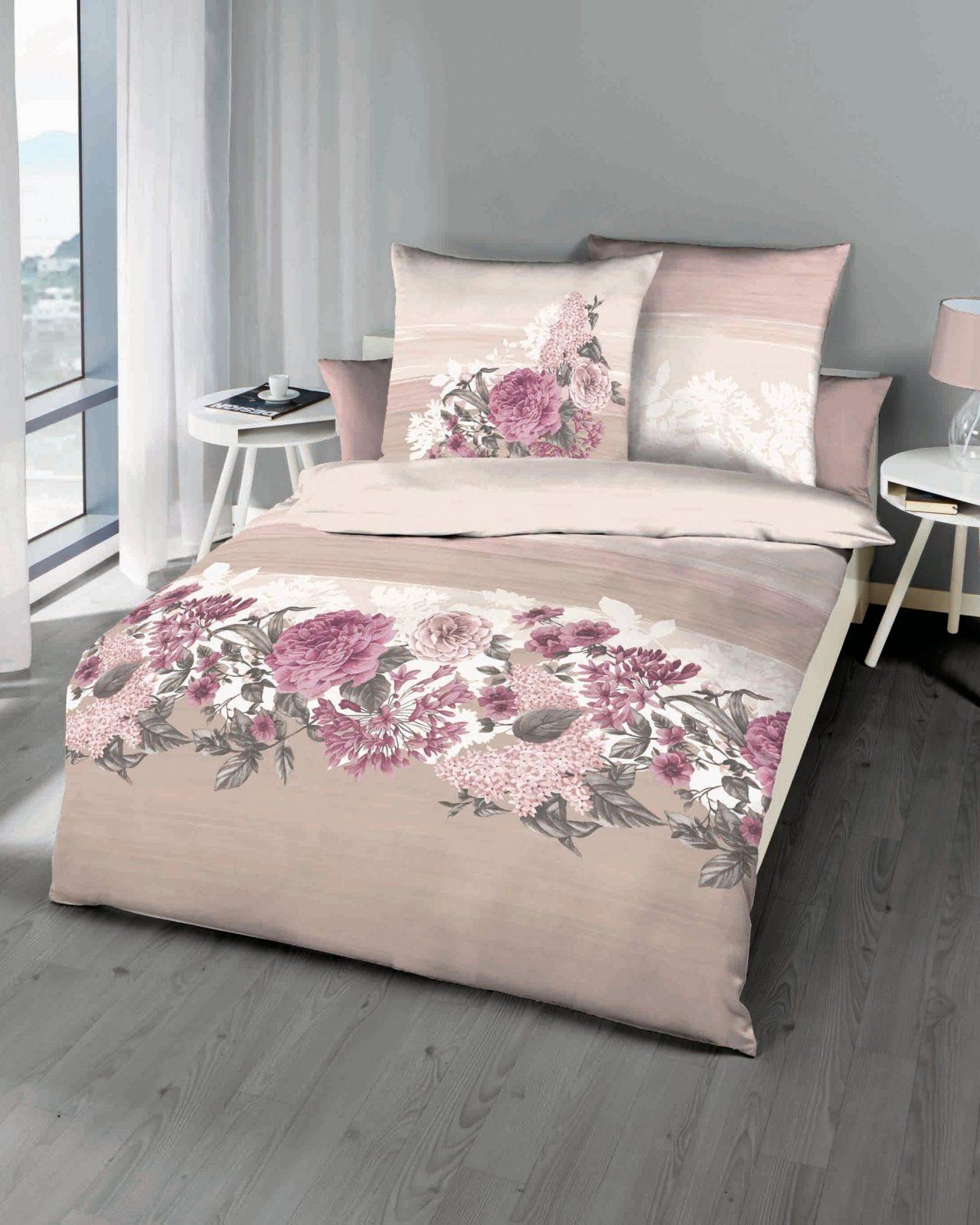 Mako Satin Bettwäsche Blumen Motiv 841 Creme Günstig Auf Rechnung von Bettwäsche 155X220 Mako Satin Reduziert Bild