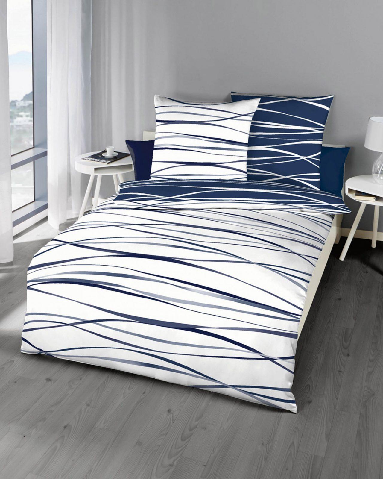 Mako Satin Bettwäsche Marine Blau Mit Streifen Design Günstig Kaufen von Bettwäsche 200X200 Mako Satin Günstig Photo