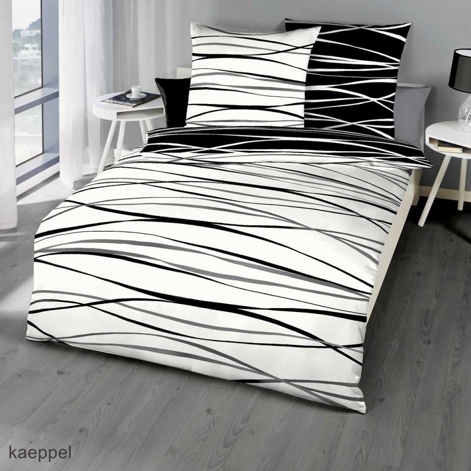 Mako Satin Bettwäsche Schwarz Mit Streifen Design Günstig Kaufen von Bettwäsche 155X220 Mako Satin Reduziert Bild