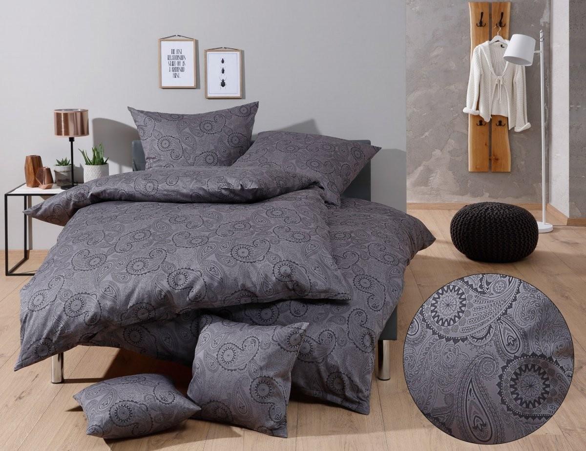 Mako Satin Damast Paisley Bettwäsche 155X200 Davos Schwarz Online Kaufen von Bettwäsche 155X200 Mako Satin Bild