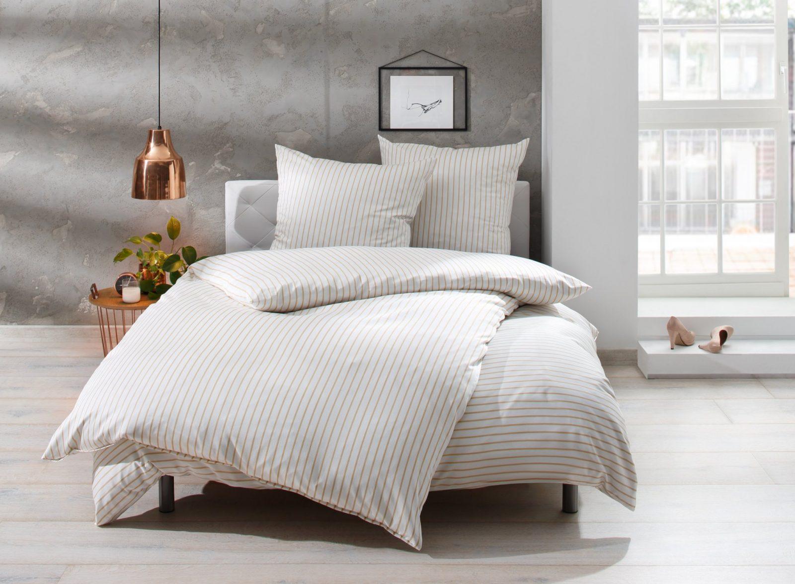 Mako Satin Streifen Bettwäsche In Beigeweiß Bei  Bms von Bettwäsche 200X200 Schwarz Weiß Bild