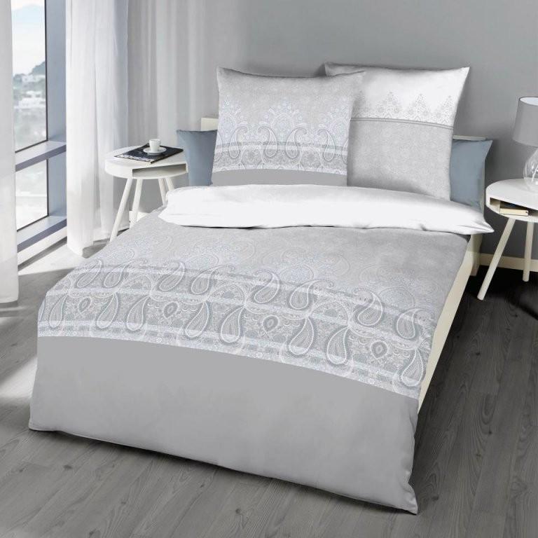 Makosatinbettwäsche Mahalia (135X200 Grau)  Dänisches Bettenlager von Bettwäsche Mako Satin Grau Bild