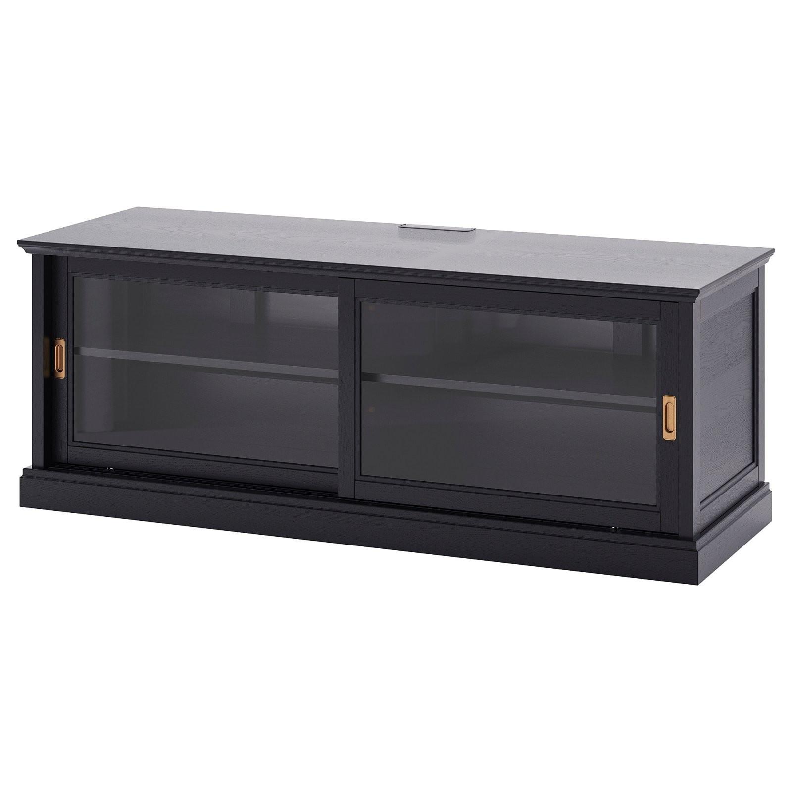 Malsjö Tvbank+Schiebetüren  Schwarz Gebeizt  Ikea von Sideboard Mit Schiebetüren Ikea Bild