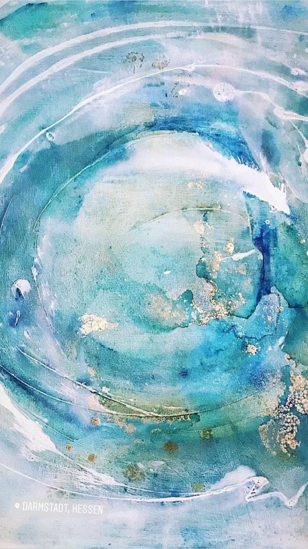 Mandala Acryl Auf Leinwand Malerei Gold Kreis Blau Weiß von Acrylbilder Abstrakt Selber Malen Bild