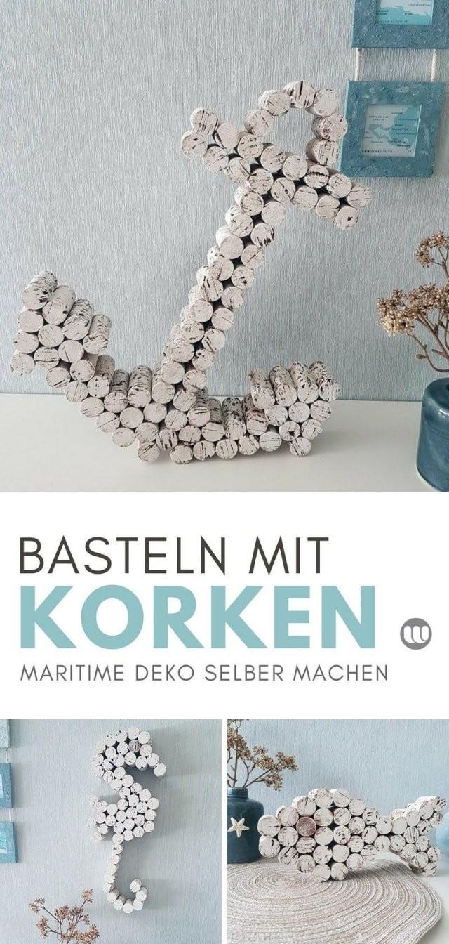 Maritime Korken Deko Anker  Seepferdchen Basteln Mit Weinkorken von Piraten Deko Selber Machen Bild