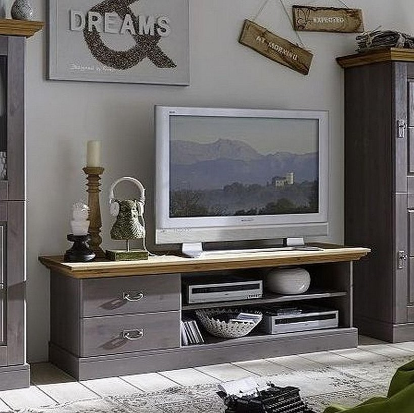 Massivholz Anbauwand Kiefer 2Farbig Grau Gelaugt Geölt Schrankwand von Wohnzimmerschrank Kiefer Gelaugt Geölt Photo