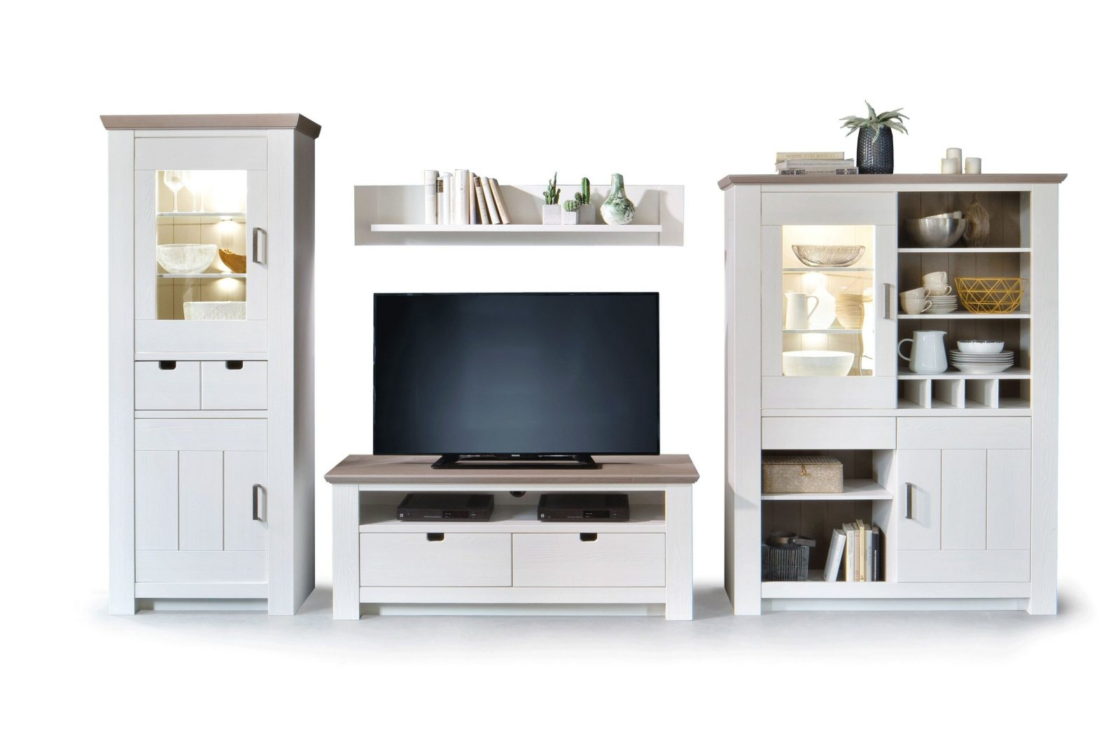 Mca Wohnwand La Palma Kiefer In Weiß  Möbel Letz  Ihr Onlineshop von Wohnwand Kiefer Massiv Natur Lackiert Bild