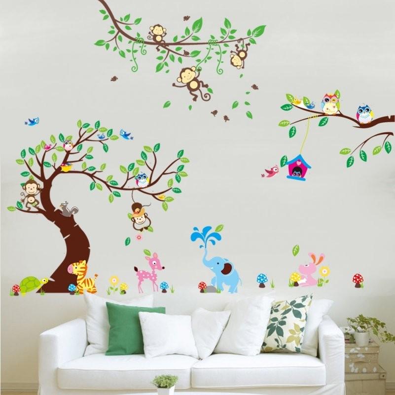 Mega Xxxl Wandtattoo Baum Tiere Afrika 340X250Cm Kinderzimmer von Wandtattoo Baum Kinderzimmer Xxl Bild