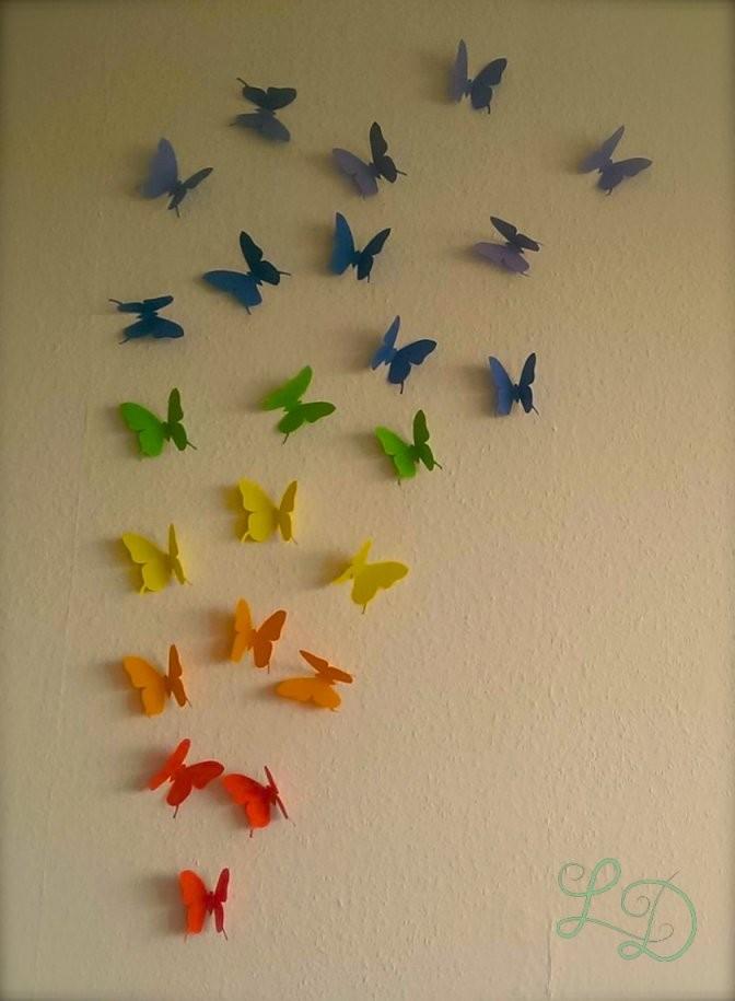 Meine Bunte Schmetterlingswand – Love Decorations von Schmetterlinge Wanddeko Selber Machen Photo