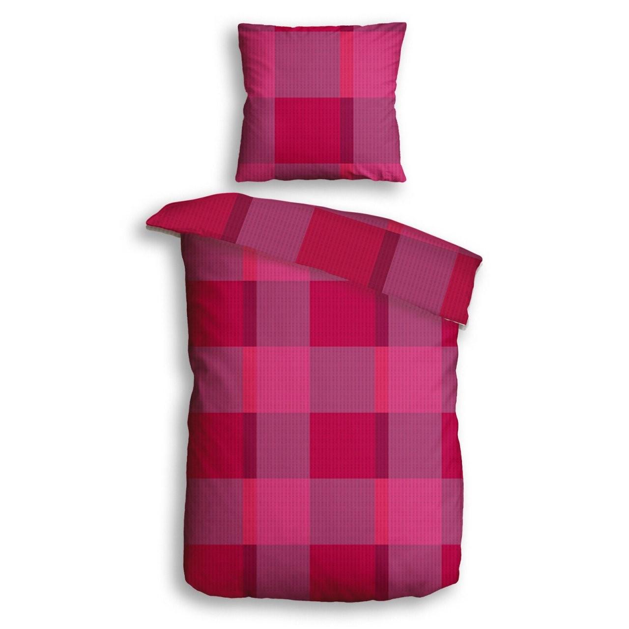 Microfaserseersuckerbettwäsche Big Check  Pink  135X200 Cm von Seersucker Bettwäsche 135X200 Günstig Bild