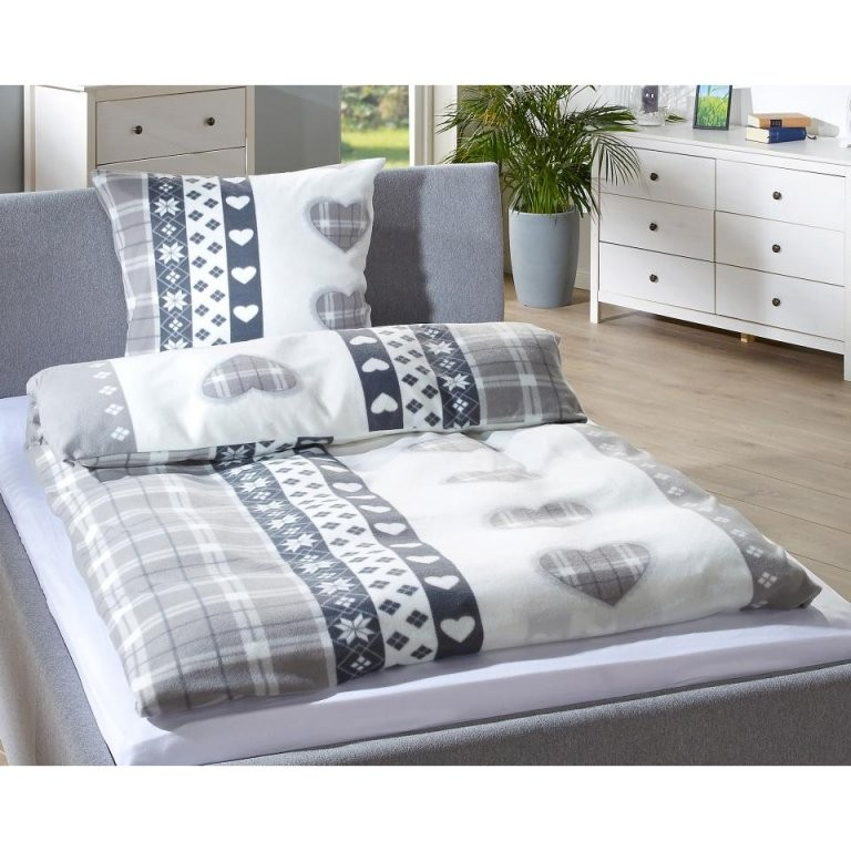 Microfleecebettwäsche Herzen (155X220 Grau)  Dänisches Bettenlager von Bettwäsche Dänisches Bettenlager Bild