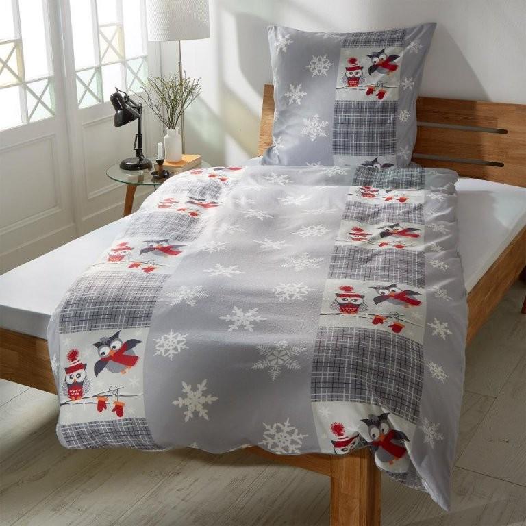 Microfleecebettwäsche Wintereulen (135X200)  Dänisches Bettenlager von Bettwäsche Dänisches Bettenlager Bild
