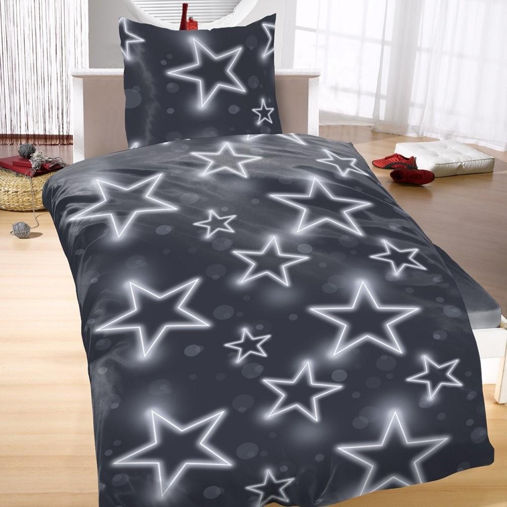 Mikrofaser Bettwäsche 135X200 155X220 2 Tlg Sterne Blau Grau Modern von Bettwäsche Sterne Grau 155X220 Bild