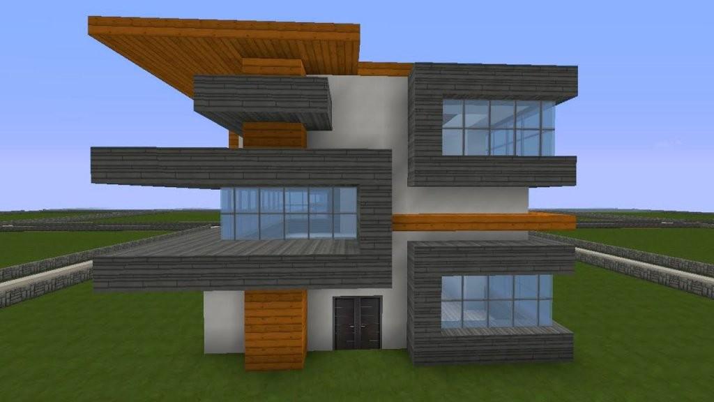 Minecraft Modernes Haus Freitag  Hochhaus Braunweiß Bauen von Minecraft Häuser Zum Nachbauen Anleitung Bild