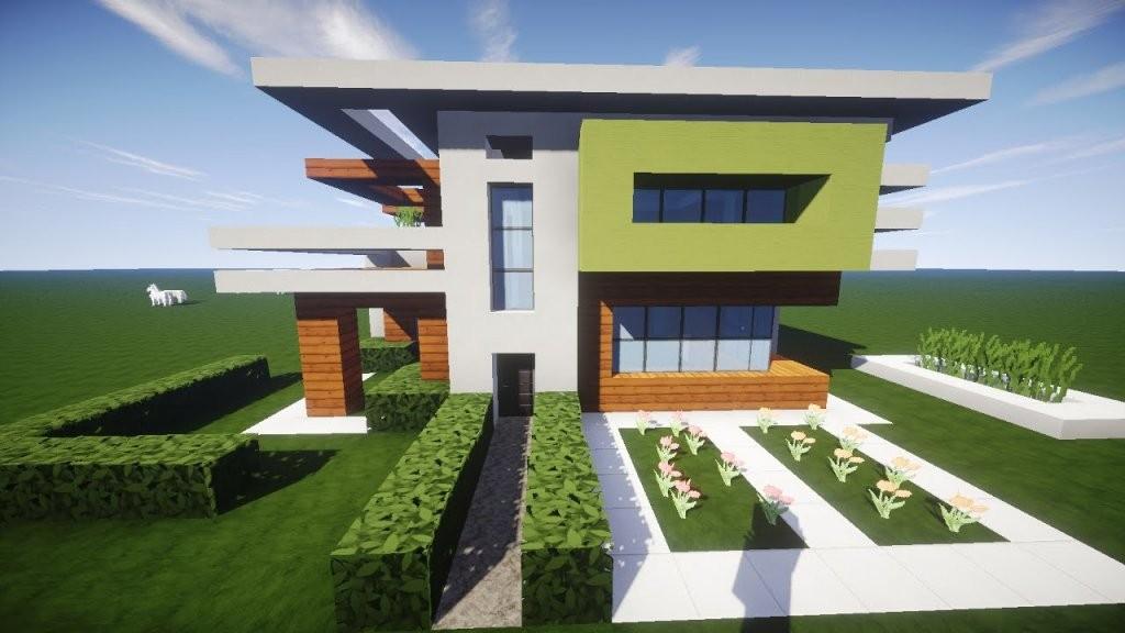 Minecraft Modernes Haus Holz Weiß Grün Bauen  Tutorialanleitung von Coole Minecraft Häuser Zum Nachbauen Bild