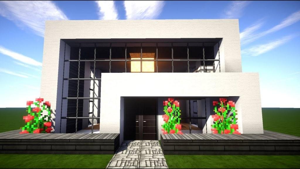 Minecraft Modernes Haus Mit Wasserfall Bauen 14X12  Tutorial von Minecraft Häuser Modern Zum Nachbauen Bild