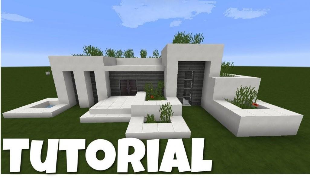 Minecraft Modernes Haus  Weißgrau Bauen  Tutorialanleitung 2016 von Minecraft Häuser Zum Nachbauen Anleitung Bild