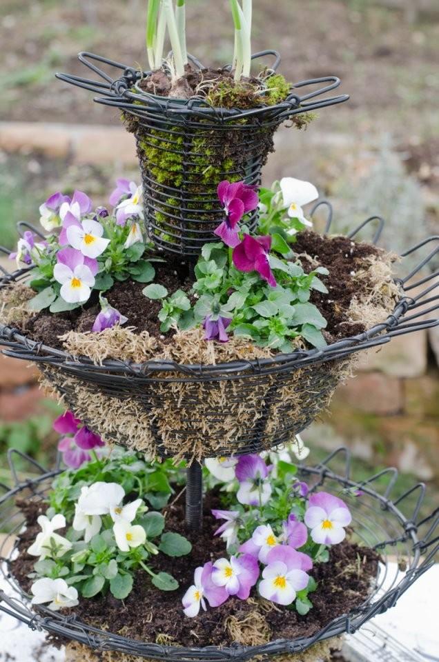 Mit Hornveilchen Bepflanzte Etagére Als Frühlings Deko Im Garten von Deko Ideen Vor Der Haustür Frühling Bild