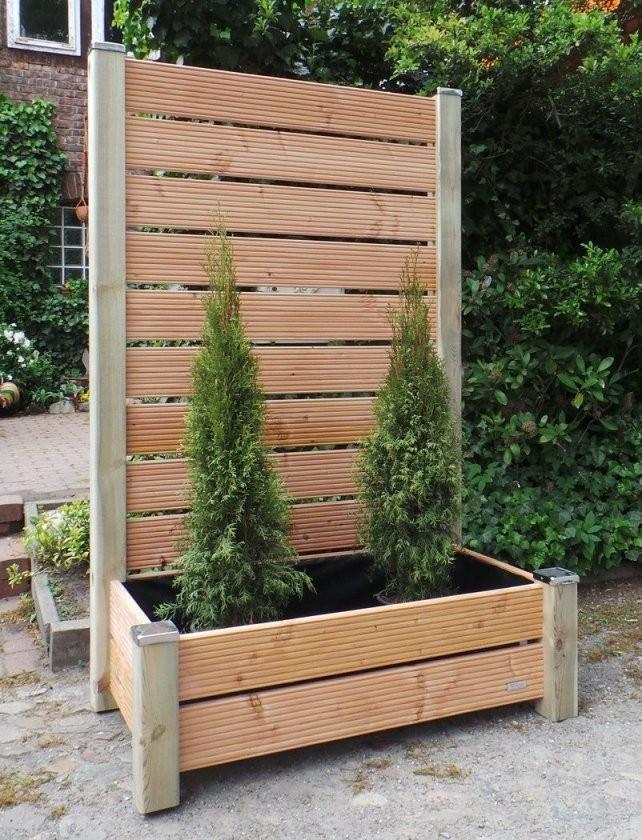 Mobiler Sichtschutz Mit Pflanzkasten H190 Blumenkasten  Backyard von Blumenkasten Holz Selber Bauen Photo