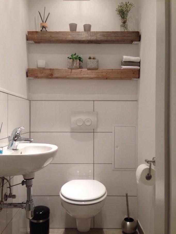 Modern Trifft Rustikal Holz Balken Regal Gäste Wc …  Ideas von Gäste Wc Ideen Modern Photo