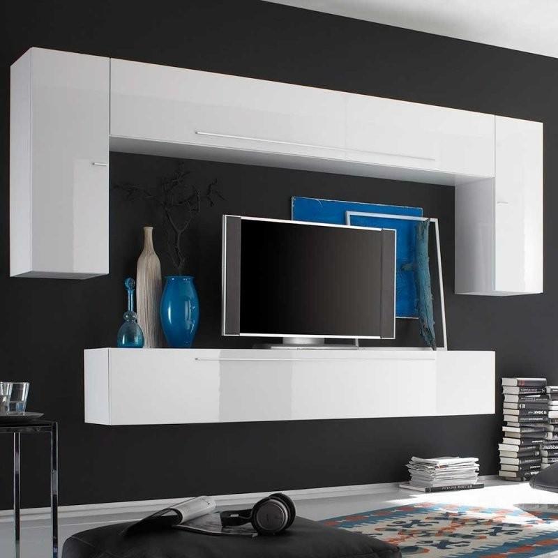 Moderne Wohnwand In Weiß Hochglanz Hängend  Friedel (4Teilig) von Wohnwand Weiß Hochglanz Hängend Photo