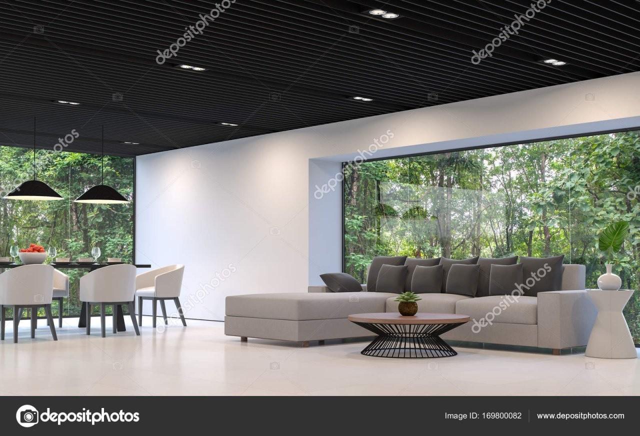 Moderne Wohnzimmer Und Esszimmer Mit Natur Anzeigen — Stockfoto von Modernes Wohnzimmer Mit Essbereich Bild