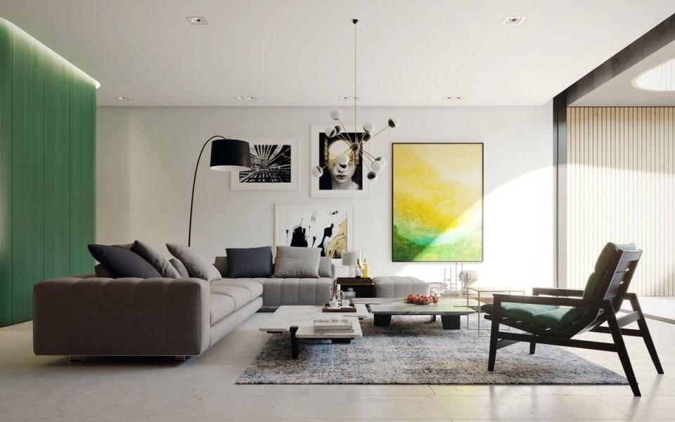 Moderne Wohnzimmerfarben  Trendge Einrichtungsideen In Grün Und Rot von Moderne Wandfarben Für Wohnzimmer Photo