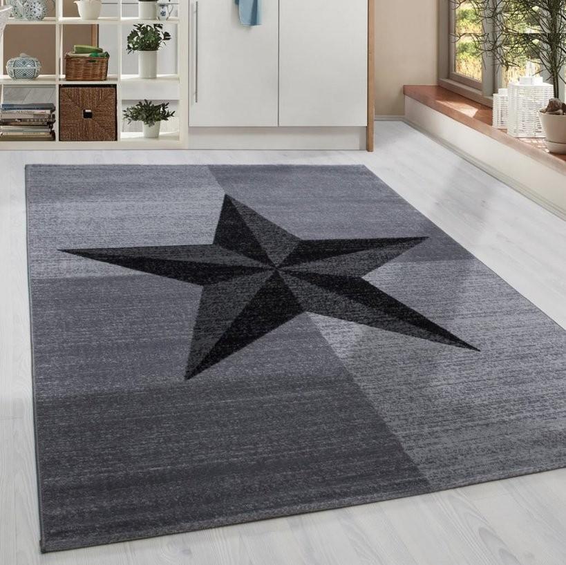 Moderner Kurzflor Teppich Stern Gesäumt Jugendzimmer  Real von Teppich Mit Sternen Grau Bild