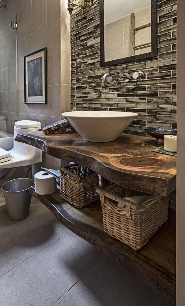 Modernes Bad Holz Waschtisch  Holz  Badezimmer Badezimmerideen von Moderne Bäder Mit Holz Photo