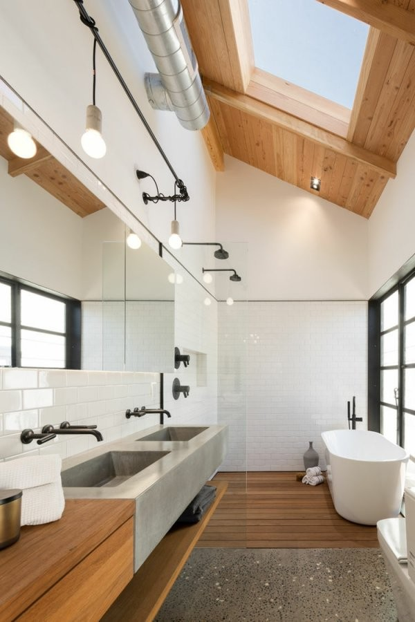 Modernes Bad Mit Holz  27 Ideen Für Möbel Boden Wand  Decke von Moderne Bäder Mit Holz Photo