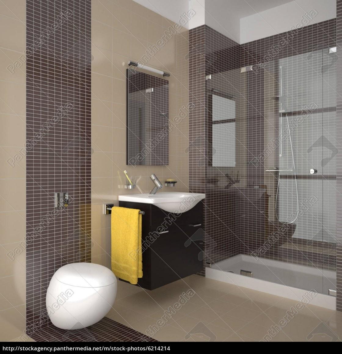 Modernes Badezimmer Mit Beige Und Braun Fliesen  Stock Photo von Moderne Badezimmer Fliesen Beige Photo