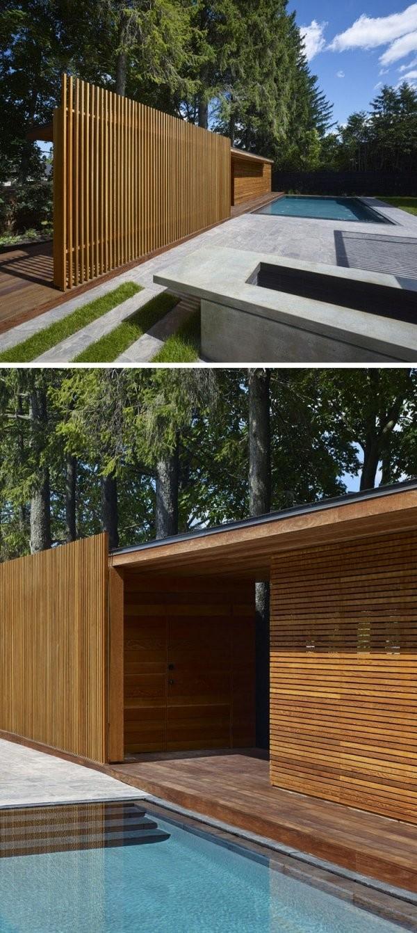 Modernes Poolhaus Aus Holz Mit Dusche Und Umkleideraum In Kanada von Sichtschutz Für Duschen Im Freien Photo