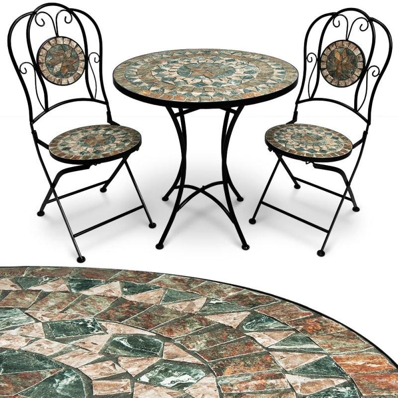 Mosaik Gartengarnitur Sitzgarnitur Gartenmöbel Sitzgruppe Tisch von Bistrotisch Mit 2 Stühlen Bild