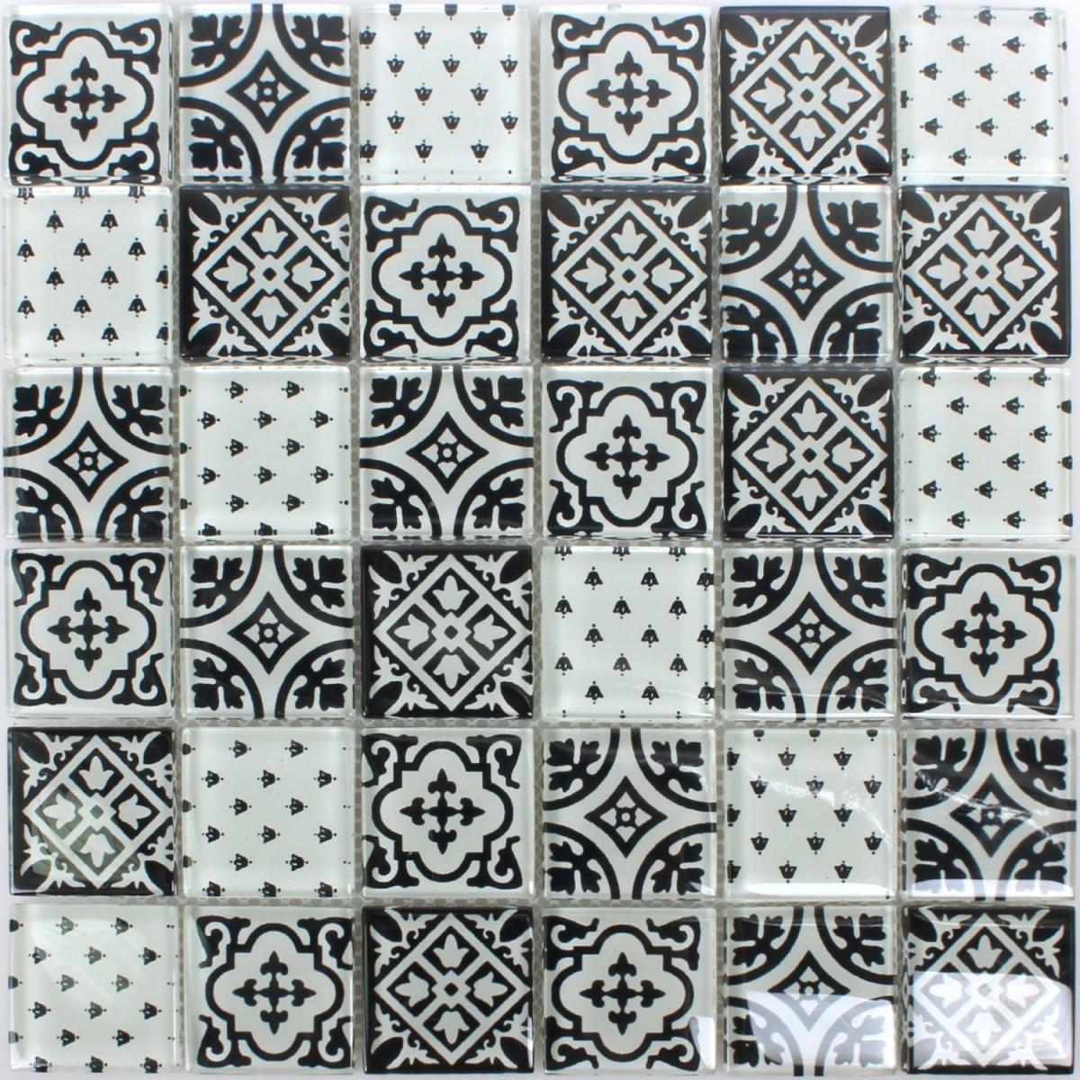 Mosaikfliesen Glas Dante Schwarz Weiss  Ran48050 von Fliesen Schwarz Weiß Muster Bild