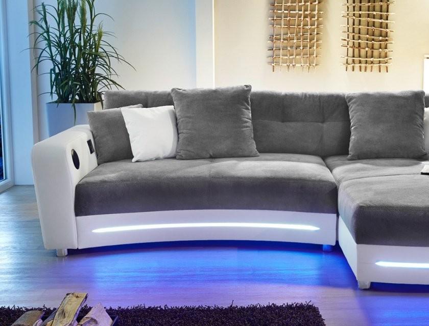 Multimedia Sofa Larenio Hifi Wohnlandschaft 322X200 Cm Grau Weiß von Couch Mit Led Beleuchtung Photo