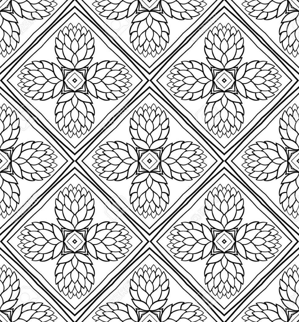 Nahtlose Hintergrund Mit Zapfen Vector Schwarzweißmuster Floral von Fliesen Schwarz Weiß Muster Photo
