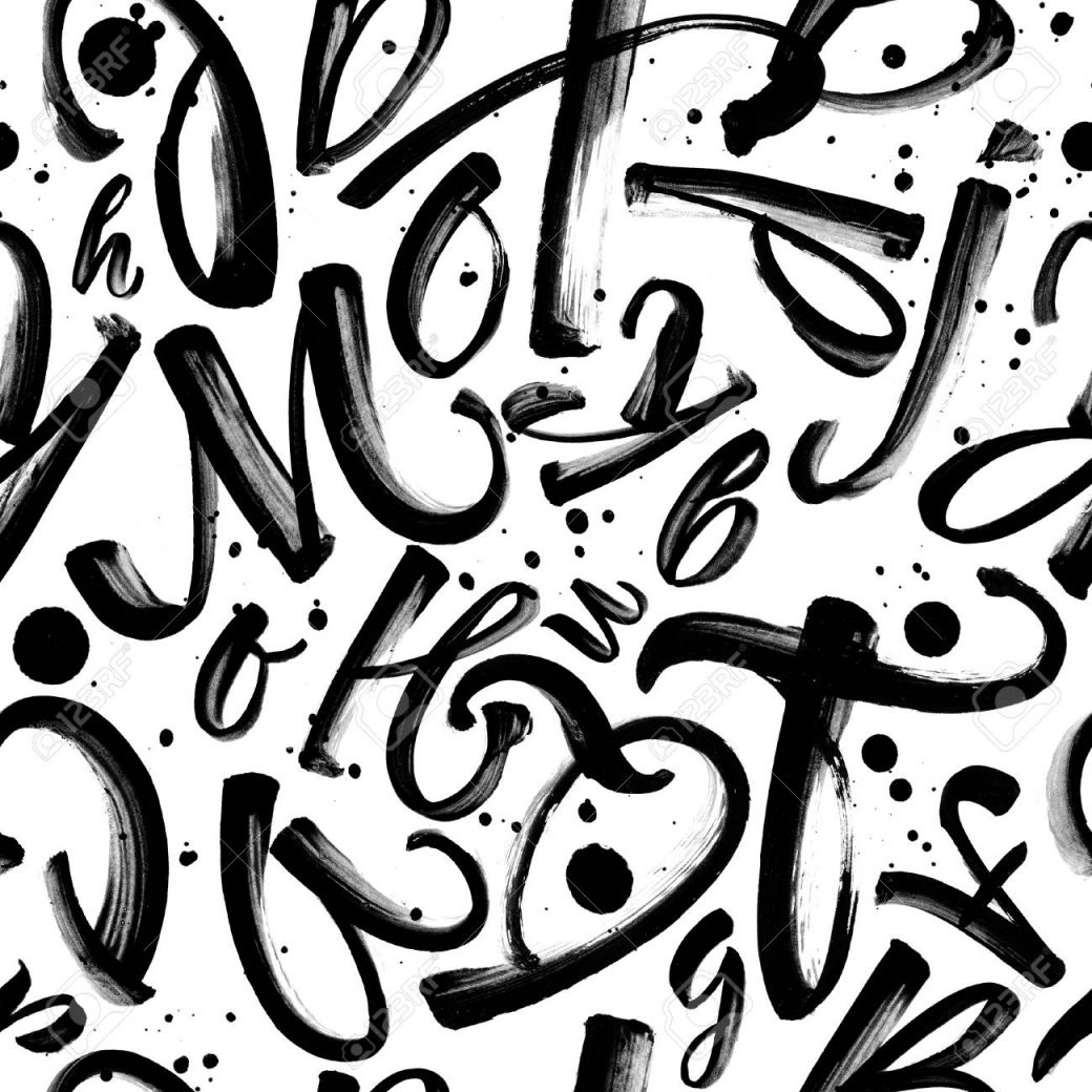 Nahtlose Schwarzweißmuster Mit Gemalten Buchstaben Und Tinte von Gemalte Bilder Schwarz Weiß Bild