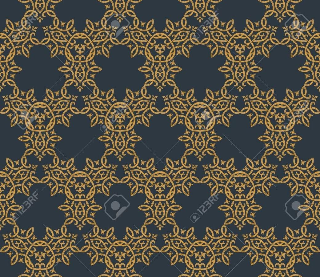 Nahtloser Hintergrund In Der Arabischen Art Gold Schwarze Tapete von Schwarze Tapete Mit Muster Bild