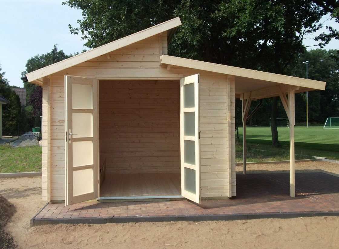Naturholz Pultdach Gartenhaus  Gartenhaus Mit Pultdach von Pultdach Garage Selber Bauen Bild