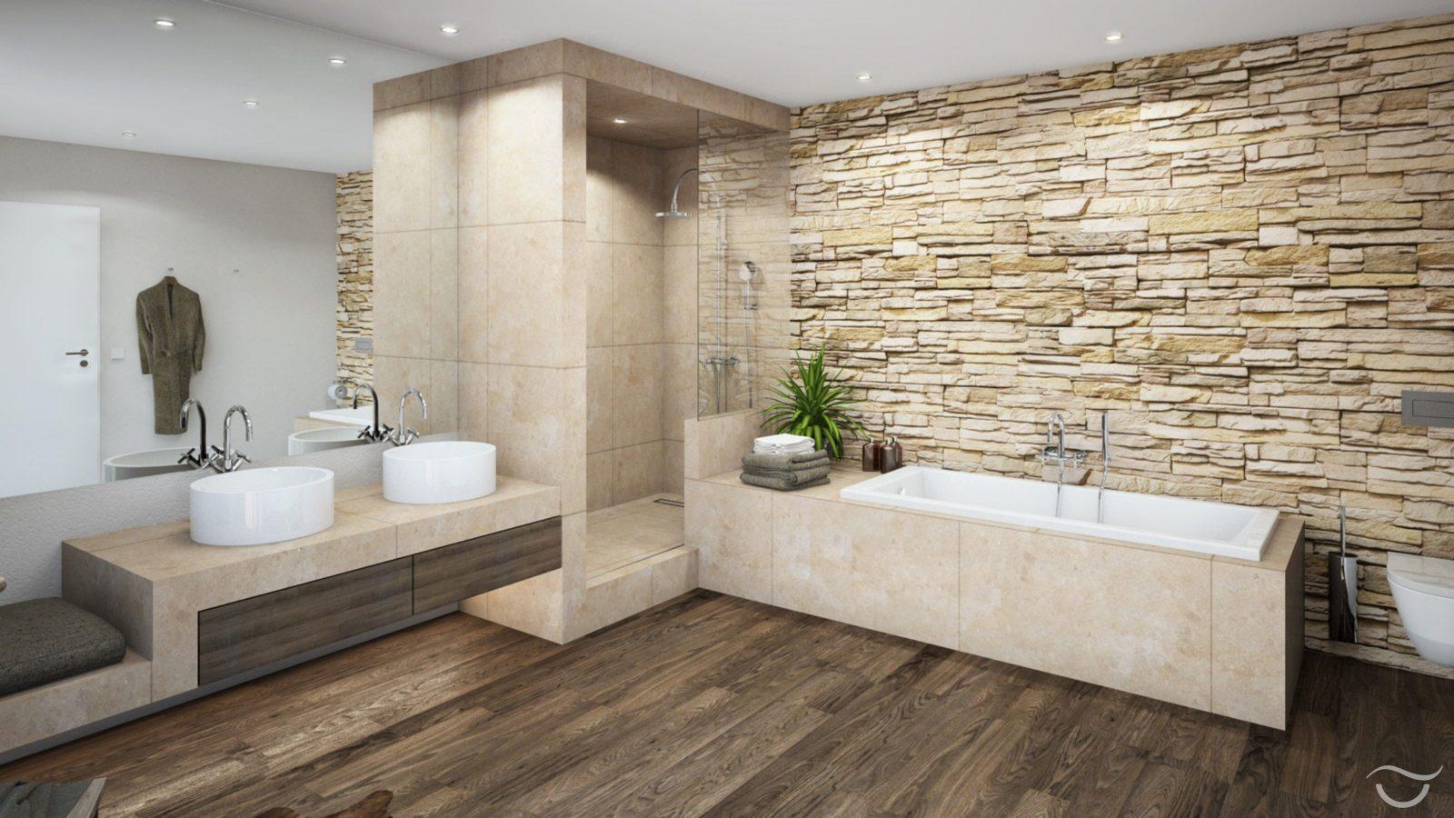 Natürliche Materialien Wie Holz Und Natursteine Sowie Auch Warme von Fliesen In Steinoptik Für Dusche Photo