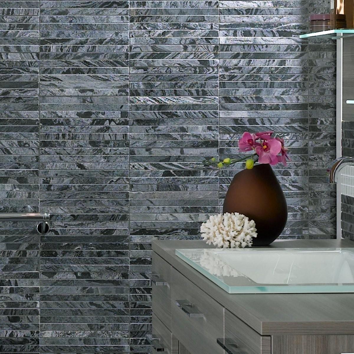 Naturstein Mosaikfliesen Quarzit Albury Poliert  Bad Wc Wand Bade von Mosaik Fliesen Bad Grau Bild