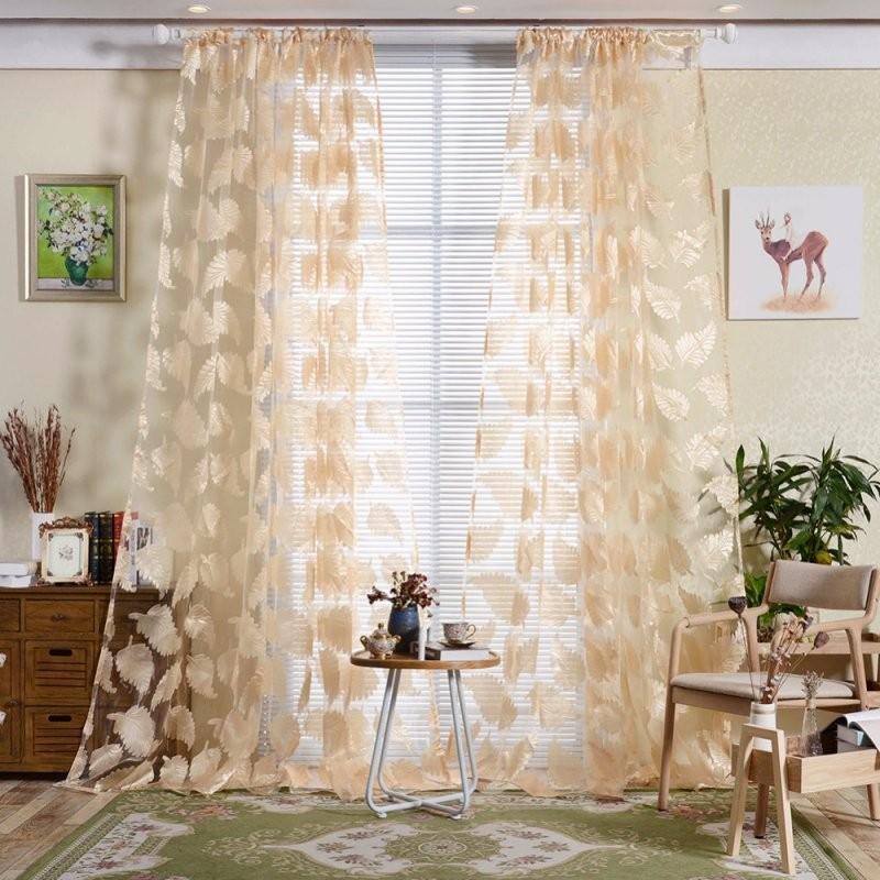 Neue 1 Stück Feder Muster Bestickt Voile Vorhänge Schlafzimmer von Gardinen Muster Für Wohnzimmer Bild