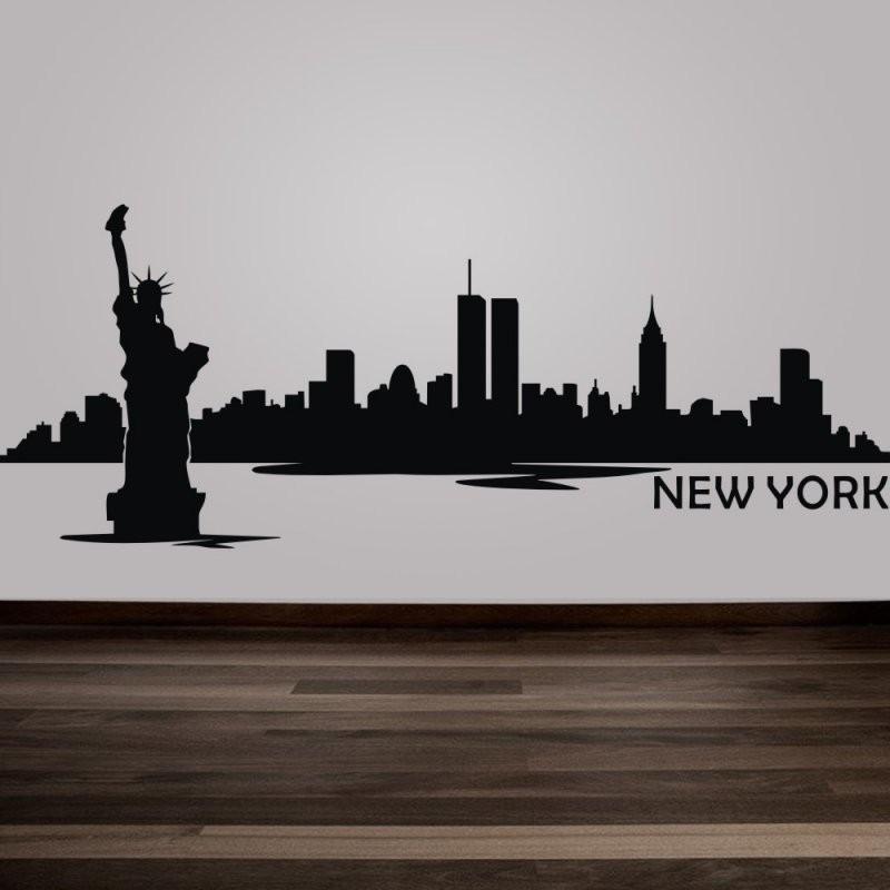 New York City Skyline Silhouette Wandtattoo Benutzerdefinierte Vinyl von Skyline New York Wandtattoo Bild
