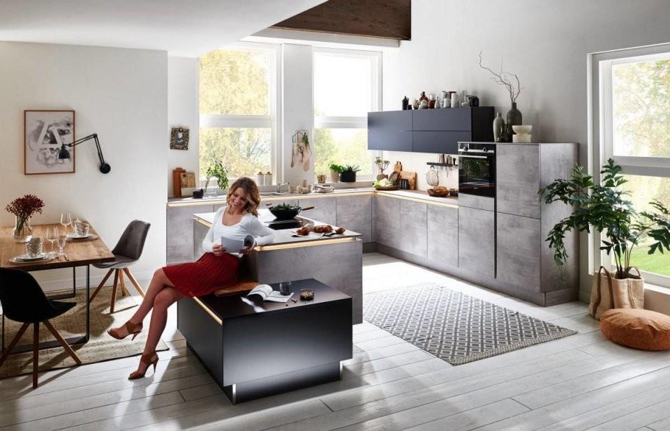 Nolte Inselküche U Form Beton Küchen Günstig Kaufen von Küchen In U Form Günstig Bild